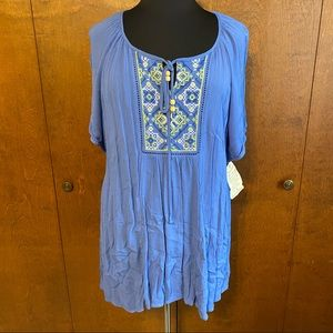 ONE WORLD plus size tunic with embroidery